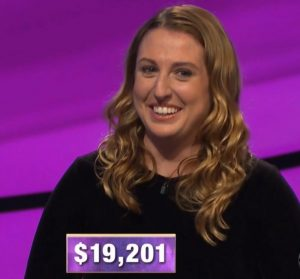 Andrea Dragan, today's Jeopardy! winner (for the March 18, 2020 game.)
