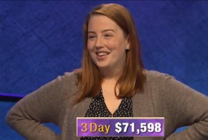 Jessica Babbitt, today's Jeopardy! winner (for the March 13, 2020 game.)