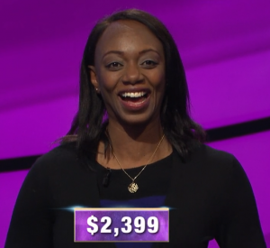 Khalilah Walters, today's Jeopardy! winner (for the March 27, 2020 game.)