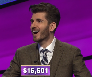 Kris Sunderic, today's Jeopardy! winner (for the March 17, 2020 game.)