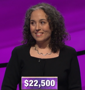 Leanne Gonzalez-Singer, today's Jeopardy! winner (for the March 31, 2020 game.)