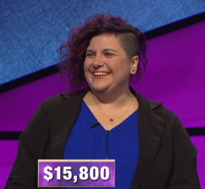 Michonne Omo, today's Jeopardy! winner (for March 19, 2020.)