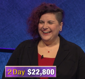 Michonne Omo, today's Jeopardy! winner (for the March 20, 2020 game.)