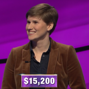 Felicity Flesher, today's Jeopardy! winner (for the April 2, 2020 game.)