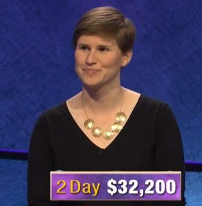 Felicity Flesher, today's Jeopardy! winner (for the April 3, 2020 game.)