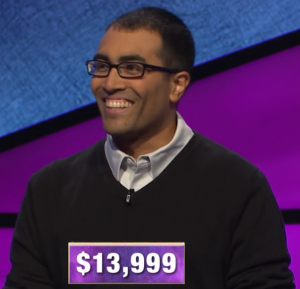 Hemant Mehta, today's Jeopardy! winner (for the April 1, 2020 game.)
