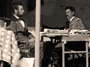 Abraham Lincoln (left) and George McClellan (right) at Antietam on October 3, 1862, as asked about in Final Jeopardy on Monday, April 27, 2020.