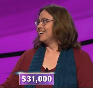Sarah Jett Rayburn, today's Jeopardy! winner (for the April 24, 2020 game.)