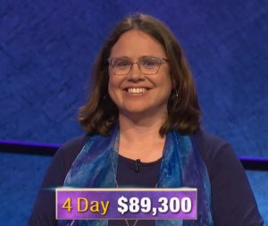 Sarah Jett Rayburn, today's Jeopardy! winner (for the April 29, 2020 game.)