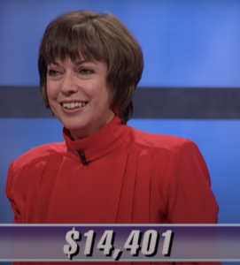 Nancy Zerg, today's Jeopardy! winner (for the May 15, 2020 game.)