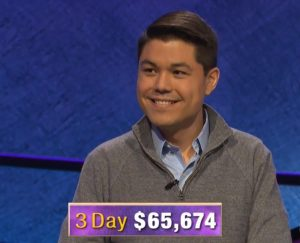 Zach Newkirk, today's Jeopardy! winner (for the September 10, 2020 game.)