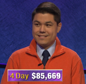 Zach Newkirk, today's Jeopardy! winner (for the June 12, 2020 game.)