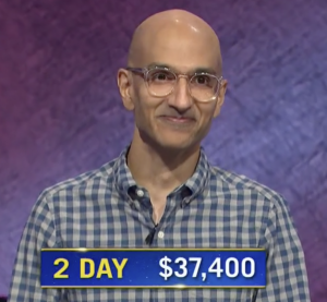 Sameer Gandhi, today's Jeopardy! winner (for the September 25, 2020 game.)