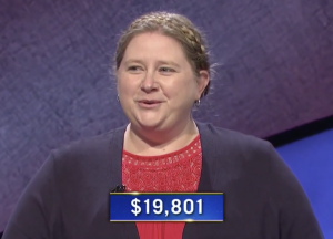 Sarah Twilley, today's Jeopardy! winner (for the September 18, 2020 game.)
