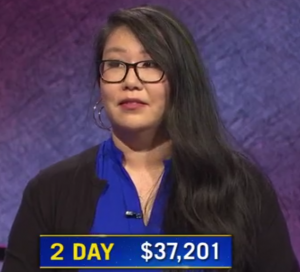 Carmela Chan, today's Jeopardy! winner (for the October 30, 2020 game.)