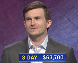 Garrett Marcotte, today's Jeopardy! winner (for the October 7, 2020 game.)