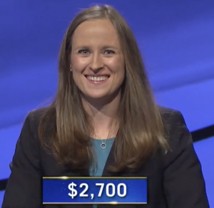 Kristin Hucek, today's Jeopardy! winner (for the October 15, 2020 game.)