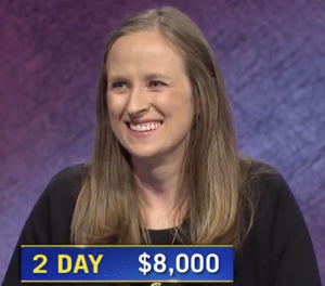 Kristin Hucek, today's Jeopardy! winner (for the October 16, 2020 game.)