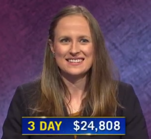 Kristin Hucek, today's Jeopardy! winner (for the October 19, 2020 game.)