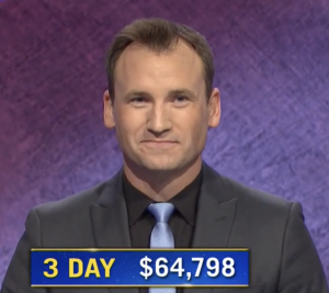 Andy Wood, today's Jeopardy! winner (for the November 18, 2020 game.)
