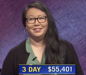 Carmela Chan, today's Jeopardy! winner (for the November 2, 2020 game.)