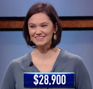 Meagan Grote, today's Jeopardy! winner (for the August 20, 2021 episode.)