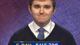 Brayden Smith, today's Jeopardy! winner (for the January 4, 2021 game.)