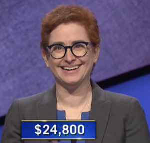 Jennifer Linde, today's Jeopardy! winner (for the January 15, 2021 game.)