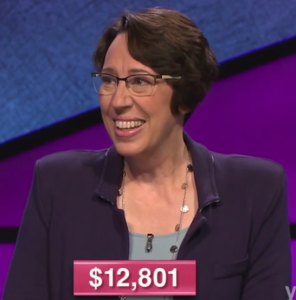 Jill Rausch, today's Jeopardy! winner (for the January 1, 2021 game.)