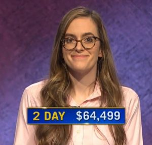 Lucy Ricketts, today's Jeopardy! winner (for the January 13, 2021 game.)