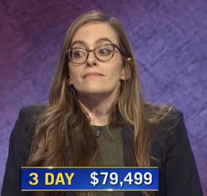 Lucy Ricketts, today's Jeopardy! winner (for the January 14, 2021 game.)