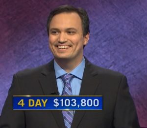 John Focht, today's Jeopardy! winner (for the February 11, 2021 game.)