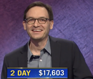 Michael Colton, today's Jeopardy! winner (for the February 26, 2021 game.)