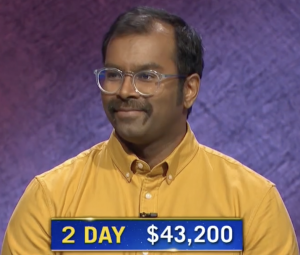 Amal Dorai, today's Jeopardy! winner (for the March 24, 2021 game.)