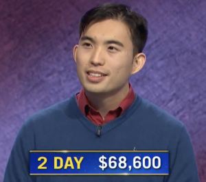 Bryce Hwang, today's Jeopardy! winner (for the March 30, 2021 game.)