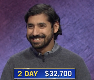 Dave Pai, today's Jeopardy! winner (for the March 12, 2021 game.)