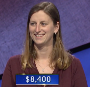 Emily Seaman, today's Jeopardy! winner (for the March 31, 2021 game.)