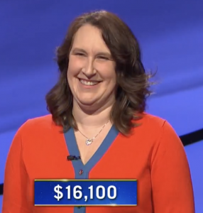 Lisa O'Brien, today's Jeopardy! winner (for the March 25, 2021 game.)
