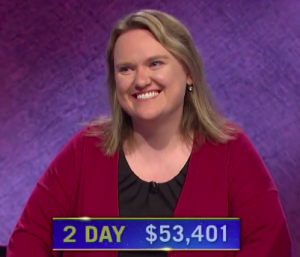 Emily Sands, today's Jeopardy! winner (for the April 30, 2021 game.)