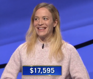 Leah Caglio, today's Jeopardy! winner (for the April 28, 2021 game.)