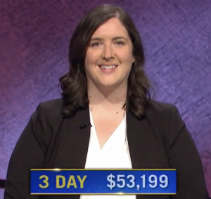 Amanda Ganske, today's Jeopardy! winner (for the May 14, 2021 game.)