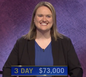 Emily Sands, today's Jeopardy! winner (for the May 3, 2021 game.)