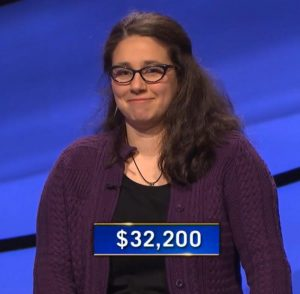 Jamie Logan, today's Jeopardy! winner (for the May 5, 2021 game.)