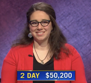 Jamie Logan, today's Jeopardy! winner (for the May 6, 2021 game.)
