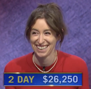 Julia Markham Cameron, today's Jeopardy! winner (for the June 4, 2021 game.)