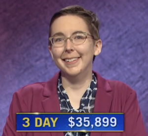 Katie Sekelsky, today's Jeopardy! winner (for the June 15, 2021 game.)