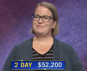 Sandy Olive, today's Jeopardy! winner (for the June 23, 2021 game.)