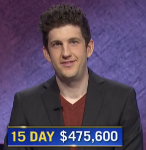 Matt Amodio, today's Jeopardy! winner (for the August 10, 2021 game.)