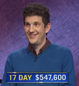 Matt Amodio, today's Jeopardy! winner (for the August 12, 2021 game.)