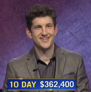 Matt Amodio, today's Jeopardy! winner (for the August 3, 2021 game.)